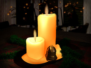 3d bell candles christmas model