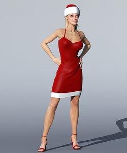 3d model monica christmas woman character