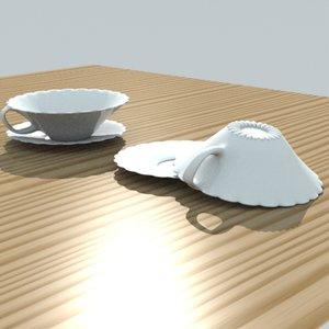 fancy tea cup saucer 3d lwo
