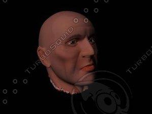 3d model severed head man male