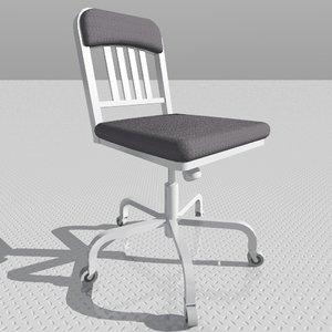 navy swivel chair 3d model