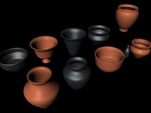 ancient pottery vessels pots 3d model