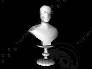 3d model portrait bust pedestal