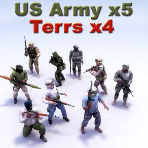 3d insurgent terrorist military model