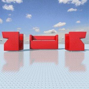 3ds max zigzag sofa armchair