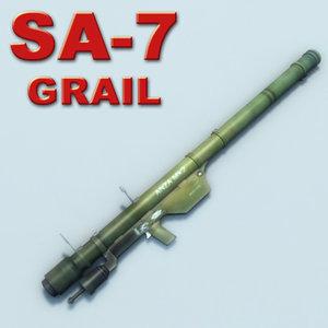 sa-7 grail air missile 3d model