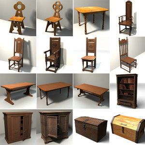3d furniture table chair model