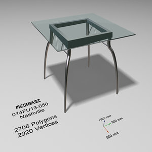 3d dining table glass - model