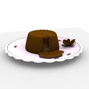 3d chocolate lava cake plate