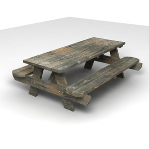 3d picnic table benches model