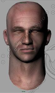 3d head mesh color normal maps model