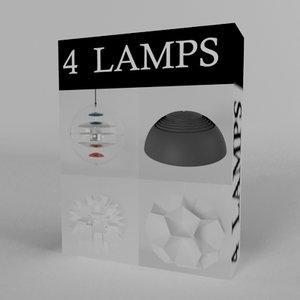 4 lamps 3d model