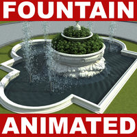 3d fountain water animation