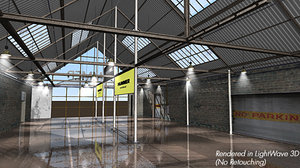 3d model showroom wherehouse interior lightwave cars