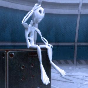 cute alien character 3d model