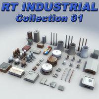 3d model of industrial construction buildings tanks