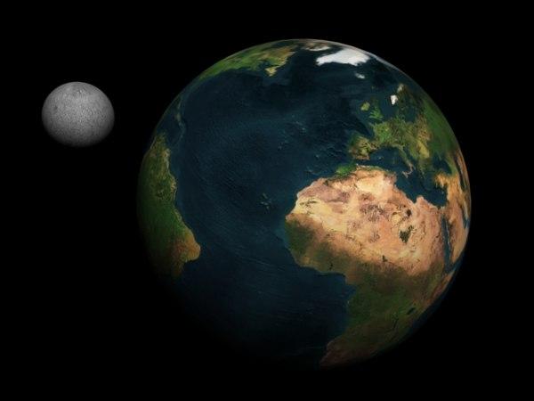3d model earth moon