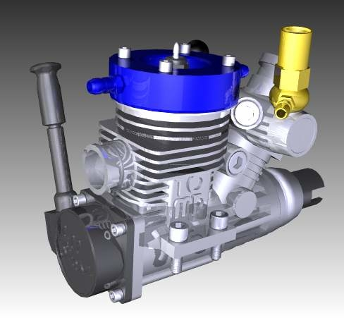 3d rc nitro engine motor model