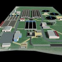 3d model industrial sewage treatment plant
