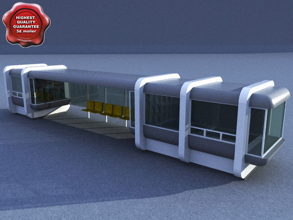 bus stop v5 3d c4d