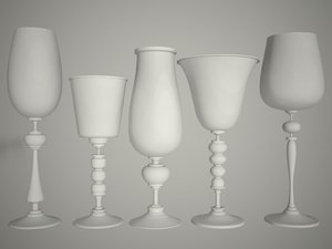 5 glasses 3d max