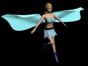 3d model fairy rigged bones