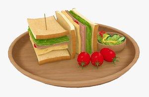 3D sandwich salad toon