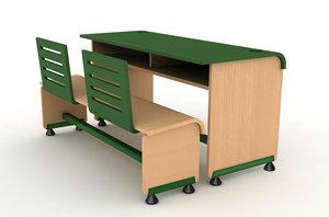 bench table set 3d 3ds