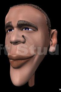 caricature democratic barack obama 3d model