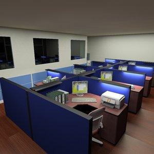 office space cubicles 3d model