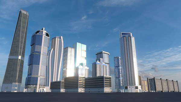 3D model buildings skyscrapers