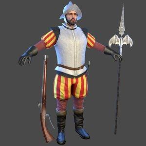 3D conquistador man morion model