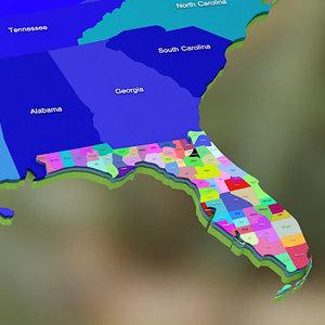 3d usa florida counties