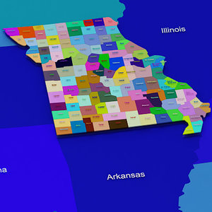 usa missouri counties 3d model