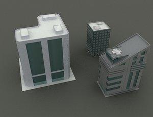 3 low-poly buildings 3d max