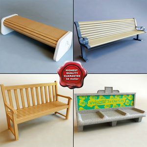 3d benches modelled model
