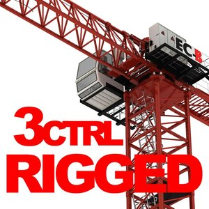 3d model rigged construction tower crane