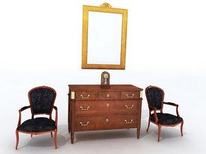 3ds max louis antique armchair