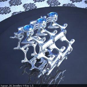 3ds max original ring sapphires