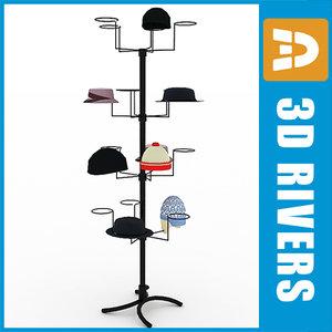 3d model rack hats display