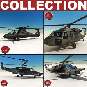 3d helicopters ka-50 black model