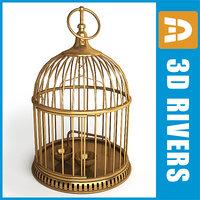 retro birdcage birds cage 3d model