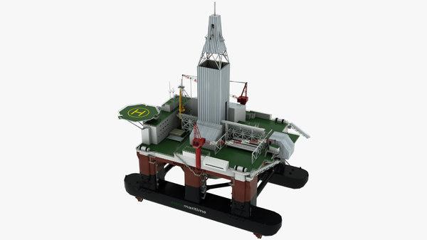 3D floating drilling rig model