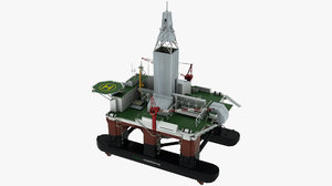 3D floating drilling rig model