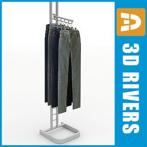 metal clothing rack display 3d model