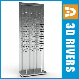 3d model glasses display rack