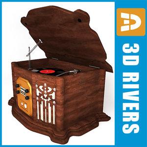 3d retro gramophone 02