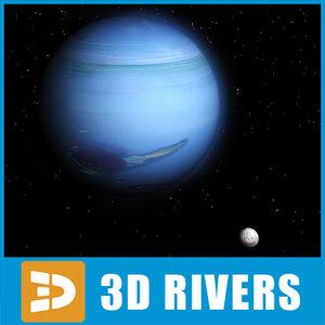 neptune planets satellite 3d model