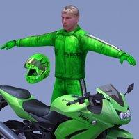 kawasaki ninja 250r motorcycle rider 3d model