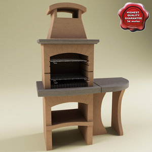 outdoor stone barbecue v2 3d 3ds